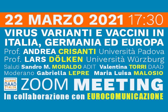 "Webinar ""Virus, varianti e vaccini in Italia, Germania ed Europa"""